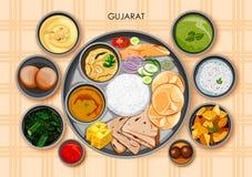 Traditionell thali för Gujaratikokkonst- och matmål av Gujarat vektor illustrationer