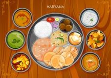 Traditionell thali för Haryanavi kokkonst- och matmål stock illustrationer