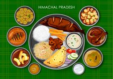 Traditionell thali för Himachali kokkonst- och matmål stock illustrationer
