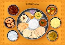 Traditionell thali för Karnatakan kokkonst- och matmål vektor illustrationer