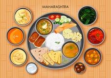 Traditionell thali för Maharashtrian kokkonst- och matmål royaltyfri illustrationer