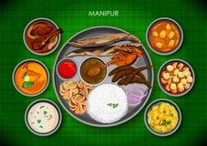 Traditionell thali för Manipuri kokkonst- och matmål av Manipur stock illustrationer