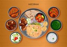 Traditionell thali för Mizorami kokkonst- och matmål av Mizoram vektor illustrationer