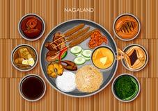 Traditionell thali för Nagakokkonst- och matmål av Nagaland stock illustrationer
