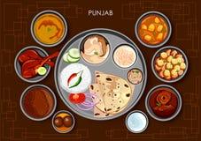 Traditionell thali för Punjabikokkonst- och matmål av Punjab vektor illustrationer