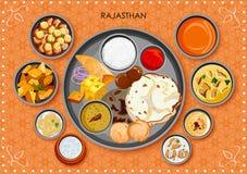 Traditionell thali för Rajasthani kokkonst- och matmål stock illustrationer