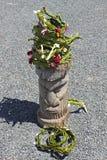 Traditionell totem på ön av Pines, Nya Kaledonien Arkivbilder