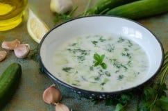 Traditionell turkisk drink, tzatziki som göras från yoghurt, vitlök, royaltyfria bilder