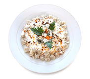 Traditionell turkisk kokkonst - Manti - turkisk ravioli Royaltyfria Foton