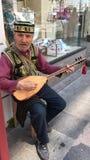 Traditionell turkisk musiker i Istanbul Arkivfoto