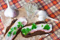 Traditionell ukrainare- och ryssaptitretare, när äta middag Mat, när dricka alkohol Vodka och smörgåsar med bacon, vitlök och p Royaltyfri Foto