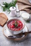 Traditionell ukrainsk borsch för rödbetasoppa Arkivbilder