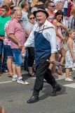 Traditionell ungersk druvahändelsedeltagare i höst i en by Badacsony 09 09 Ungern 2018 arkivfoton