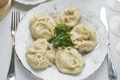 traditionell uzbek för maträttkazakhmanti royaltyfri bild