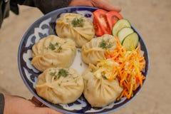 Traditionell uzbekisk maträtt av mantaen med grönsaksallad på en platta royaltyfri foto