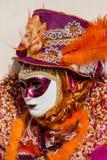 Traditionell venetian karnevalmaskering Arkivfoto