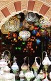 Traditionella arabiska lyktor på marknaden i Andalusia Arkivbild