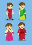 Traditionella asiatdräkter för kvinnavektorillustration Royaltyfri Fotografi