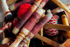 Traditionella balinesemusikinstrument, Ubud, Bali arkivbild