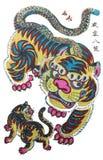 Traditionella bilder för nytt år - tigern Fotografering för Bildbyråer
