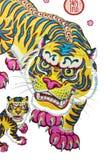 Traditionella bilder för nytt år - tigern Arkivbild