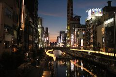 Traditionella egenar som firar historia i Osaka, Japan arkivfoton