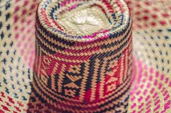 Traditionella färgrika Straw Hat, Nicaragua arkivbilder