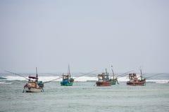 Traditionella Galle fiskebåtar, Sri Lanka Royaltyfri Bild