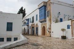 Traditionella gamla historiska område eller medina, Tunisien royaltyfri bild