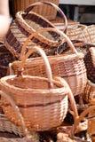 Traditionella handgjorda vävde vide- korgar Royaltyfria Foton