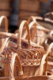 Traditionella handgjorda vävde vide- korgar Royaltyfri Foto