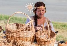 Traditionella handgjorda vide- korgar Royaltyfria Foton
