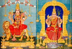 Traditionella hinduiska gudar målade bilder Royaltyfria Bilder