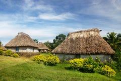 Traditionella hus av den Navala byn, Viti Levu, Fiji Arkivbild