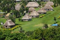 Traditionella hus av den Navala byn, Viti Levu, Fiji Arkivfoton