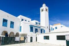 Traditionella hus i Sidi Bou Said, Tunisien Royaltyfri Bild
