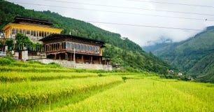 Traditionella hus i Thimphu, Bhutan Royaltyfri Foto