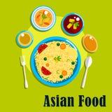 Traditionella indiska kokkonst, mat och kryddor Arkivfoto