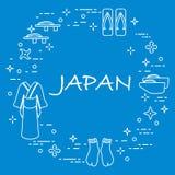 Traditionella japanska kläder, skor och shurikens Arkivbilder