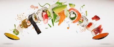 Traditionella japanska sushistycken på lantlig konkret bakgrund stock illustrationer