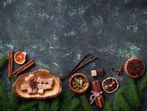 Traditionella julkryddor på grön bakgrund Royaltyfri Foto