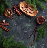 Traditionella julkryddor på grön bakgrund Royaltyfri Fotografi