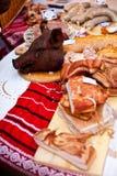 Traditionella köttprodukter Arkivbilder