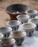 Traditionella kaffekoppar i Etiopien Arkivbild