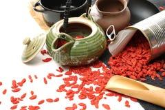Traditionella kinesiska örtar torkade wolfberry arkivfoton