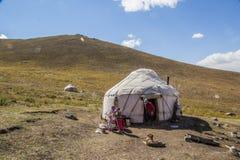 Traditionella Kirgiz Yourts Arkivbild