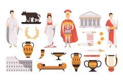 Traditionella kulturella symboler av forntida Rome st?llde in vektorillustrationer p? en vit bakgrund stock illustrationer