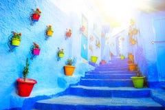 Traditionella moroccan arkitektoniska detaljer i Chefchaouen, Moroc Royaltyfri Fotografi