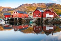 Traditionella norska röda träladugårdar royaltyfria bilder