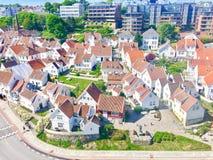Traditionella norska vithus i Stavanger Norge Arkivbilder